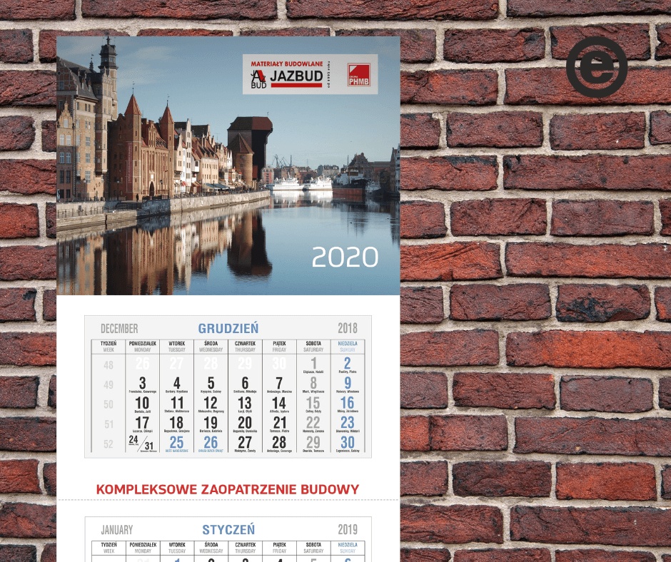 Jazbudowy kalendarz ścienny